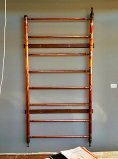 home made copper towel rail made by our client Hydronic Heating, Towel Rail, Heating Systems, Free Ebooks, Ladder Decor, Melbourne, Copper, Towel Racks, Brass