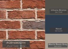 19 New ideas painted door brick house shutter colors House Exterior Color Schemes, Exterior Paint Colors For House, Paint Colors For Home, Exterior Colors, Paint Colours, Grey Exterior, Shutters Brick House, Red Shutters, Exterior Shutters