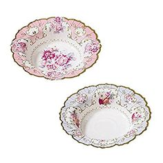 Talking Tables Truly Scrumptious Vintage Floral Paper Bowls in 2 Designs for a Tea Party or Birthday, Blue/Pink (12 Pack)