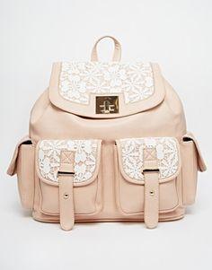 New Look Crochet Tab Pocket Backpack
