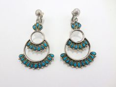 Zuni Turquoise Earrings Petit Point Inlay Drop by EdnaCatherine