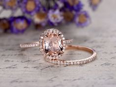 gemstone and diamond engagement ring in solid gold 14/18k white/yellow/rose gold available. Diamonds can be upgraded. Ring setting can be made. Ring can be resized. 30-Day Money Back guarantee.Customer Office in USA. Free Shipping to US. Jewelry Details: Main stone: 6x8mm Natural Pink Morganite,VVS Clarity  Accent Stones: 0.2ct Round Cut Natural Conflict Free Diamonds,SI Clarity,H color 1pc matching ring Band Width approx 2.3mm 0.13ctw Round Cut SI-H Natural Conflict Free Diam...