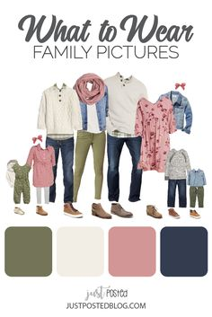 Ideas for Family Picture Outfits: Fall and Winter Family Photos Olive Green, Pink and Cream make up this picture perfect family look for a fall or winter family photo. This link has 8 different options for what to wear for family p Fall Family Picture Outfits, Spring Family Pictures, Family Portrait Outfits, Family Picture Colors, Family Photos What To Wear, Winter Family Photos, Large Family Photos, Family Picture Poses, Outfits For Family Pictures