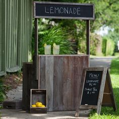 "The perfect piece to get your kiddos outside for the summer! Dimensions {36"" x 16"" x 60""} Includes two chalkboard crates and chalkboard stand. LOCAL PICKUP ONLY!"