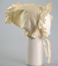 Bonnet, c1815, American; cotton.  (Note to self - try in Chinese silk?)