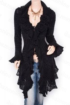 Stunning Ruffled Floral Applique Tiered Hem Cardigan Long Sweater Jacket