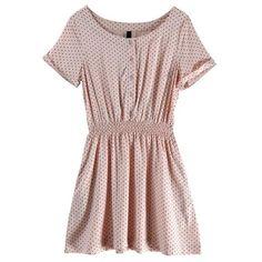 Polyester Pink Round Neck Short Sleeve Polka Dot Dress style 823dr0021 ($29) via Polyvore