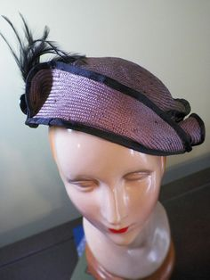 Misty Lilac Blocked Straw Hat with Feathers by BaublesAndWhatnots, SOLD