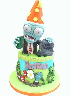 Zombie Birthday Parties, 5th Birthday Party Ideas, Kids Birthday Themes, Zombie Party, 9th Birthday, Zombies Vs, Lego Zombies, Fall Cakes, Cake Decorating Tips