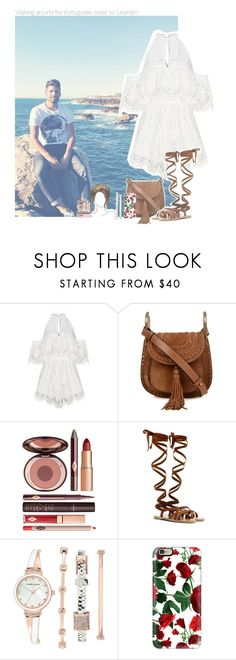 """Walking around the portuguese coast w/ Lisandro"" by erika-sads ❤ liked on Polyvore featuring Alice McCall, Chloé, Charlotte Tilbury, Miu Miu, Anne Klein, Casetify, soccer, football, Argentina and benfica"