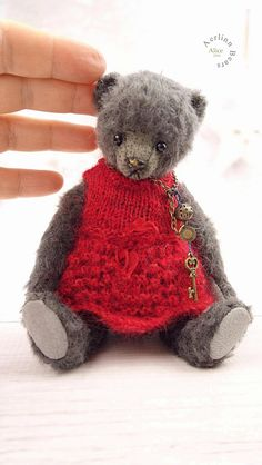Alice, Miniature  Grey Mohair Artist Teddy Bear from Aerlinn Bears