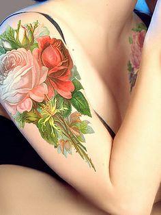 realism flower tatoo - minimal outlines