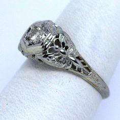 Vintage 18KT Diamond Dragonfly Filigree Ring from JM Pierce on Ruby Lane