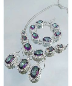 Vintage inspired silver jewellery set in multicolour