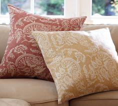 yellow pottery barn pillow