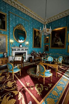 Turquoise Drawing Room at Black Manor Source: Castle Howard, York, England Palace Interior, Interior And Exterior, Beautiful Interiors, Beautiful Homes, Castle Howard, Castle Wall, Grand Homes, Interior Decorating, Interior Design