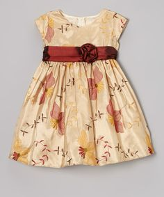 Take a look at this Champagne Poinsettia Taffeta Dress - Infant, Toddler & Girls on zulily today!