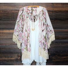 Elegante Fashion Lady Feminino Casual 3/4 de Cardigan Chiffon Floral Impresso Longo solta blusa Tops
