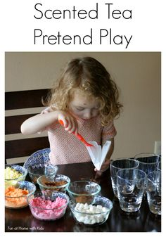 Set up a pretend tea play station with fun fall scents for your little chef!  Read ideas on what to include and a see a short tutorial on how to make your own working tea bags at Fun at Home with Kids