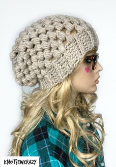Crochet Wool Ribbed Brim Slouchy Slouch Crochet by KnotSewKrazy