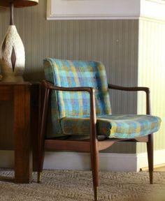 Danish Modern Teak Wooden Frame Chair Teal blue & green