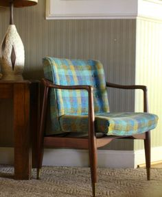 Danish Modern Teak Wooden Frame Chair Teal Blue and by gremlina, $295.00