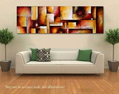Original Abstract Painting Huge Sofa Size Painting Red & Orange Painting on Canvas Contemporary Wall Art Triptych Canvas 76x24 Heather Day