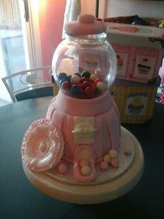 Vintage pink gumball machine cake