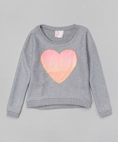 Heather Gray Heart Fleece Sweatshirt - Toddler & Girls #zulily #zulilyfinds