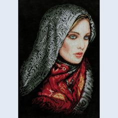 Woman in Veil - counted cross-stitch kit - Lanarte