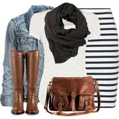 Like this look . . . could do it with a striped, polka dot, or tweed skirt to capture the essence of this look.