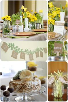 A rustic garden baby shower. We love the yellow and green theme!