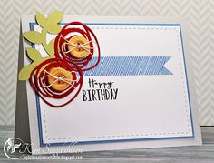 Birthday with Scribble Flowers from Joyful Creations with Kim.  Stamps and dies by Papertrey Ink.