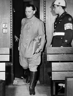 A photo dated circa December 1945 of former President of the Reichstag Hermann Goering at the prison in Nuremberg. Goering was a leading member of the Nazi party and commander of the Luftwaffe. He was tried for war crimes and crimes against humanity at the Nuremberg Trials in 1945-46 and sentenced to death. He avoided execution by committing suicide in his cell a few hours before the sentence was to be carried out.