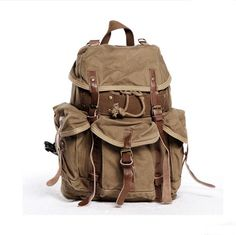 Men's Handmade Vintage Crazy Horse Leather Canvas Backpack / Satchel / Travelling bags / Business Bags / Laptop Bags