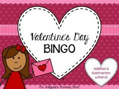 Kindergarten Bingo for Valentine's Day! Absolutely no prep.just print the cards. You can play 4 ways to practice addition, subtraction, and number sense! Valentines Day Activities, Valentines Day Party, Valentine Crafts, First Grade Addition, Second Grade, Teaching Subtraction, Teaching Fractions, Kindergarten Games, Kindergarten Addition