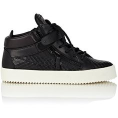 Giuseppe Zanotti Women's Plated-Strap Double-Zip Sneakers ($339) ❤ liked on Polyvore featuring shoes, sneakers, black, colorless, lace up shoes, clear sneakers, leather sneakers, clear shoes and black laced shoes