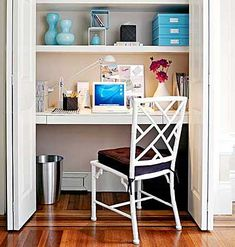By installing a few shelves into an unused closet, you can create a perfect home office. The best part about this small space? Folding doors close to conceal your workstation.