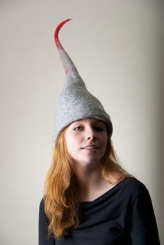 Grey Red Elf Hat Felting Winter  | purpleberry - Accessories on ArtFire