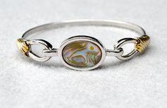 Avon Abalone Shell Bangle Bracelet Vintage #Jewelry #GiftForHer #EtsyGifts #AvonAbaloneBracelet