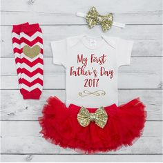 Father's Day Gift from Daughter Baby Girl Outfit Set 1st Fathers Day Outfit Red Gold Newborn My First Father's Day Gift from Baby 007S #1st_fathers_day #Baby #baby_fathers_day