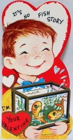 J377 60s Boy Carries A Goldfish Tank Vintage Diecut Valentine Card | eBay