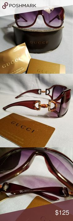 Gucci Bamboo Horsebit Sunglasses Authentic Gucci Sunglasses in a Beautiful Deep Burgundy Color. Glasses are in Great Condition. A Few Hairline Scratches. You Need to Look Very Close to Even See Them. Not Visable When Wearing Them. Case is a Little Beat Up. Comes with Authenticity Card but No Cleaning Cloth. Love These, Just a Little too Big for my Face ! NO MODELING or TRADES ! I Will Consider All Reasonable Offers !! Gucci Accessories Sunglasses