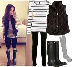 leggings, those gray socks, hunter boots