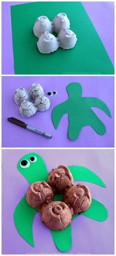 Egg Carton Turtle Craft. This activity uses big pieces that would be perfect for out students with special learning needs and fine motor issues. A perfect addition to your science unit. Get all the directions at: http://www.craftymorning.com/egg-carton-turtle-craft-for-kids/ #artsandcrafts