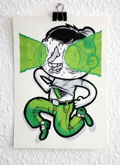 Paper paintings 2013 on Behance Ink Illustrations, Graphic Illustration, Cartoon Drawings, Cartoon Art, Character Art, Character Design, Let's Make Art, Graffiti Drawing, Bizarre Art
