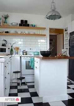 big tile on backsplash- open wood shelves on wall
