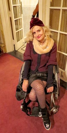 #wheelchair #disabled #streetstyle at the Amanda Palmer and Neil Gaiman show at Town Hall in NYC. Styling a 1930s look with pin curls and velvet vintage deco hat.