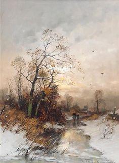 Heinz Flockenhaus  (German, 1856-1919)  Evening Stroll