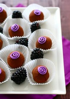 The subtle, fruity notes of the blackberry, pair beautifully with the bittersweet chocolate center. Mini Desserts, Just Desserts, Delicious Desserts, Colorful Desserts, Candy Recipes, Sweet Recipes, Dessert Recipes, Chocolate Truffles, Chocolate Lovers